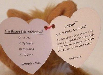 TY BEANIE BABIES 2000-Cassie the Collie Dog-RETIRED-MWMT
