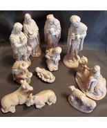 Vintage Ceramic Nativity Natural Nude Tan Terra Cotta Clay White Washed ... - $18.00