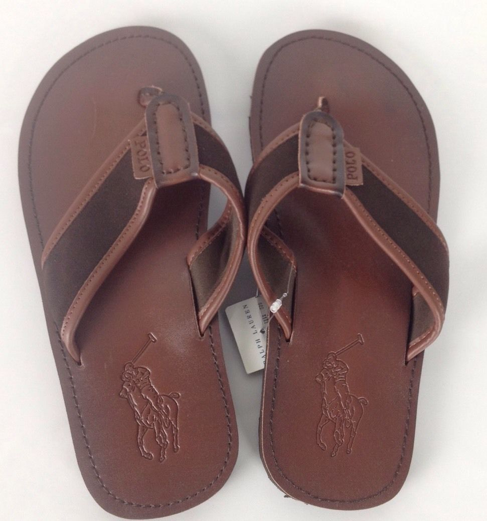 79c8badd3aeb S l1600. S l1600. Previous. Ralph Lauren Leather Flip Flops Sandals Mens 8  D Brown Big Pony Beach Pool Slide