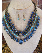 WOMEN'S LADIES BLUE SHADED FACETED  PENDANT BEADED  BIB NECKLACE AND EAR... - $16.81