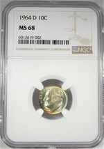 1964-D Top Pop Silver Roosevelt Dime NGC MS68 Toned Coin AJ168 - $5,320.43