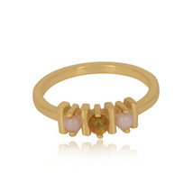 Pink, Ethiopian Opal Gemstone Bar Ring 925 Silver Gold Plated Gift Jewelry - $18.00