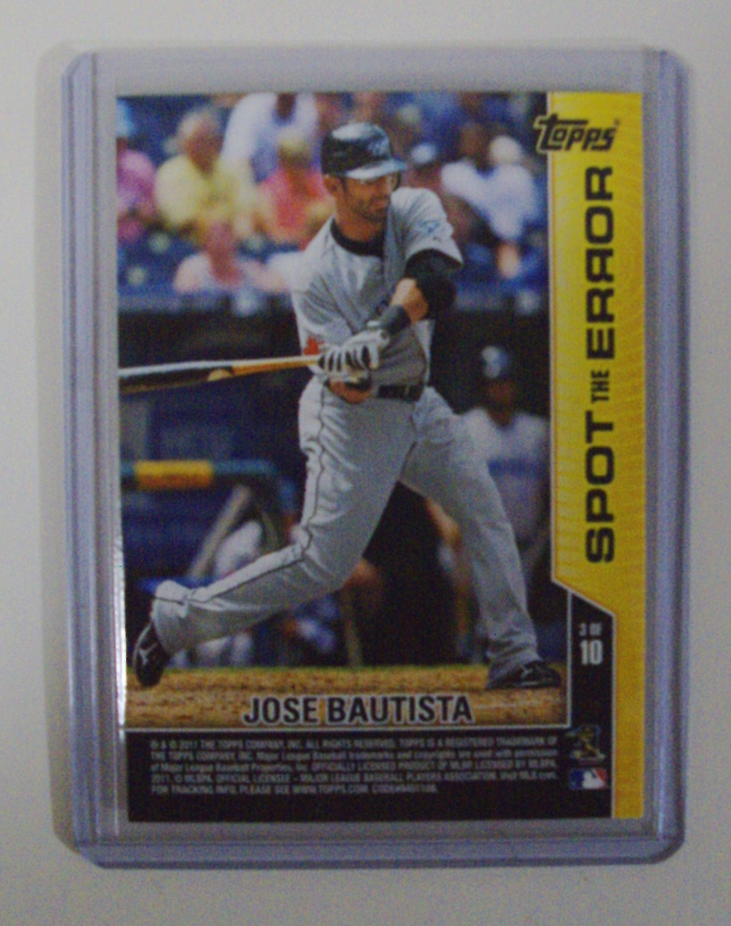 2011 Topps Opening Day Jose Bautista baseball card 3 of 10 Toronto Blue Jays
