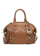 Michael Kors Luggage Leather Top Zip Closure Bedford Belted Medium Satch... - $639.99
