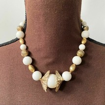 Miriam Haskell Vintage Gold Tone Beaded Necklace - $163.35