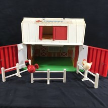 1986 Fisher Price Mooing Family Play Barn Farm Chicken Rooster Fence Vin... - $44.52