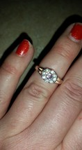 Pink & Clear Rhinestone Goldtone Fashion Ring Size 7 1/2 - $12.99
