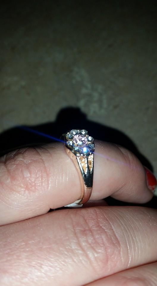 Pink & Clear Rhinestone Goldtone Fashion Ring Size 7 1/2