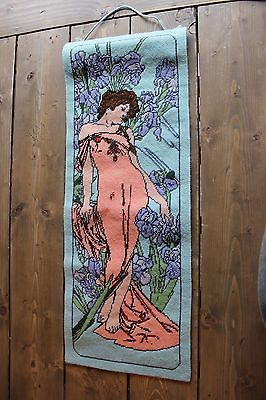 Vintage Handmade Mid Century Tapestry Wall Hanging Female Pinup