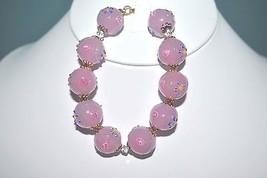 "Lampwork Murano Bead Bracelet Pink, Chunky 8"" NIB (JT2 - $24.99"