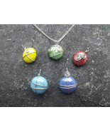 Set Of Five Colorful Wire Wrapped Glass Pendants With Silver Chain Necklace - $40.00