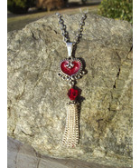 Chandelier Red Resin Heart Pendant Necklace - $20.00