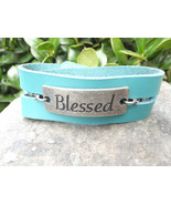 Unisex Blue Leather Blessed Cuff Bracelet, Trip... - $30.00