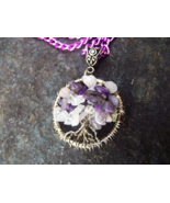 Tree Of Life Wire Wrapped Pendant With Rose Quartz and Amethyst Stones C... - $30.00