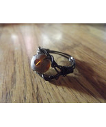 Size 10 Black Wire Wrapped Ring with Color Shifting Stardust Bead - $10.00