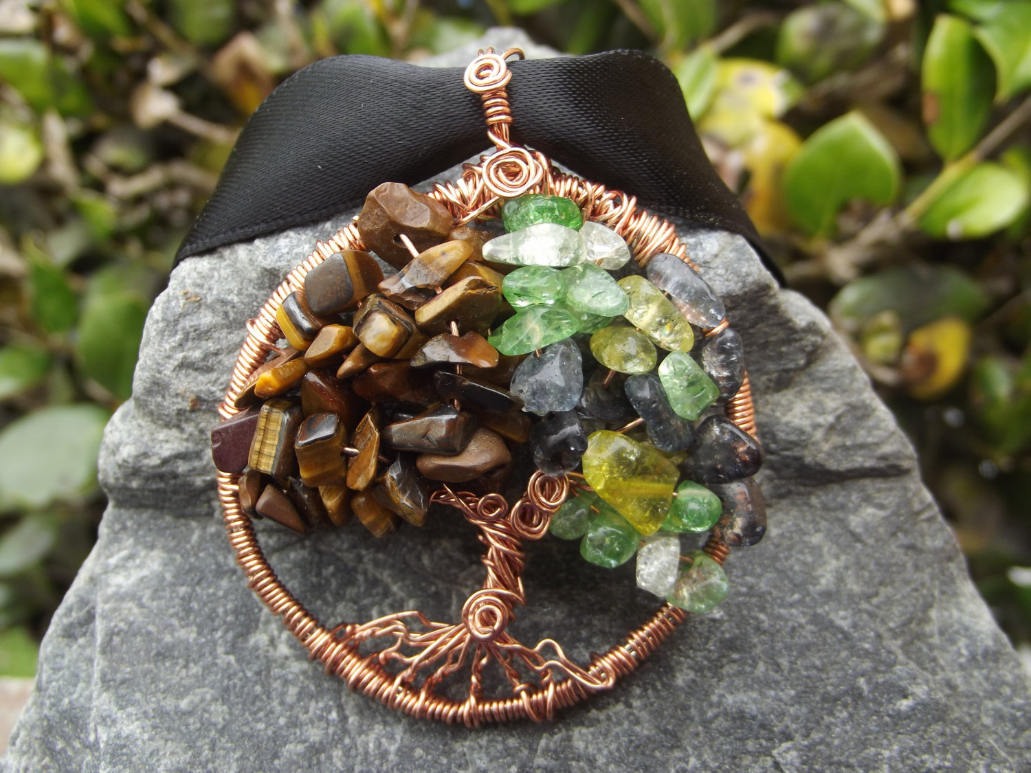Tree Of Life Wire Wrapped Pendant With Peridot And Tigers Eye Semi Precious Ston
