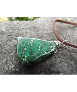 Men's Green Dyed Imperial Jasper Wire Wrapped Pendant - $20.00