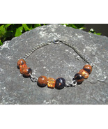 Blue Gold Sand Stone Goldstone and Amber Glass Crackle Chip Chain Bracelet - $15.00