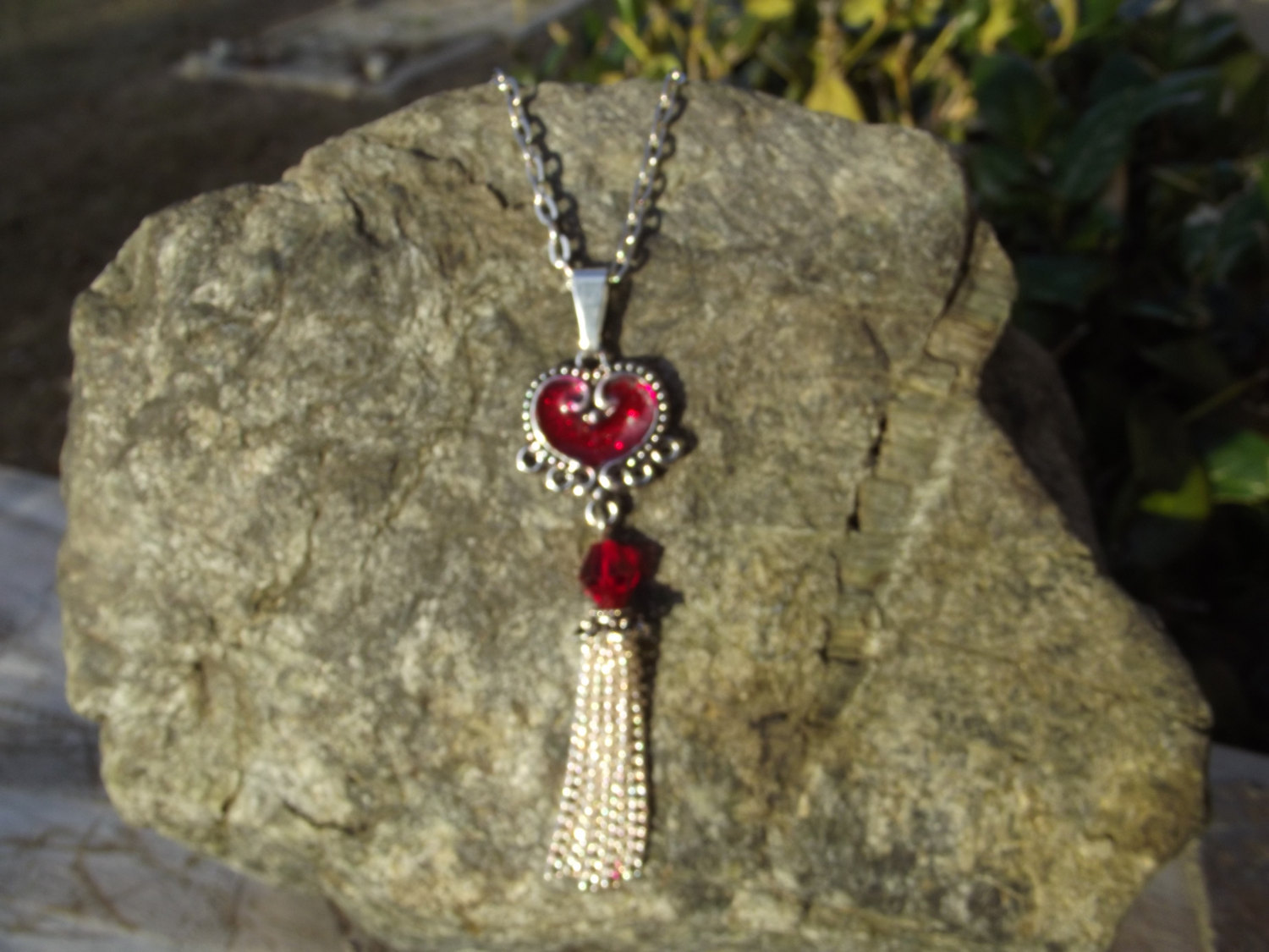 Chandelier Red Resin Heart Pendant Necklace