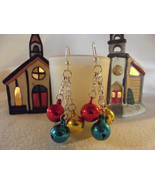 Multicolored Jingle Bell Dangle Chain Earrings - $10.00