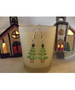 Holiday Yule Tree Dangle Earrings Made With Swarovski Elements - $13.00