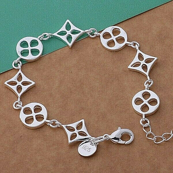Primary image for Circle and Square Link Bracelet 925 Sterling Silver NEW