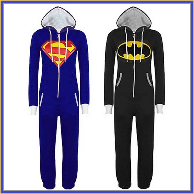 Classic Super Hero Hooded Front Zip Up PJ's or Lounger Bodysuit
