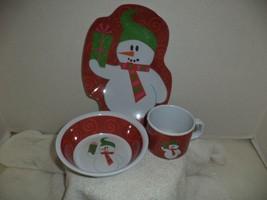 Snowman Three Piece Melamine Childrens Dinnerwa... - $9.99
