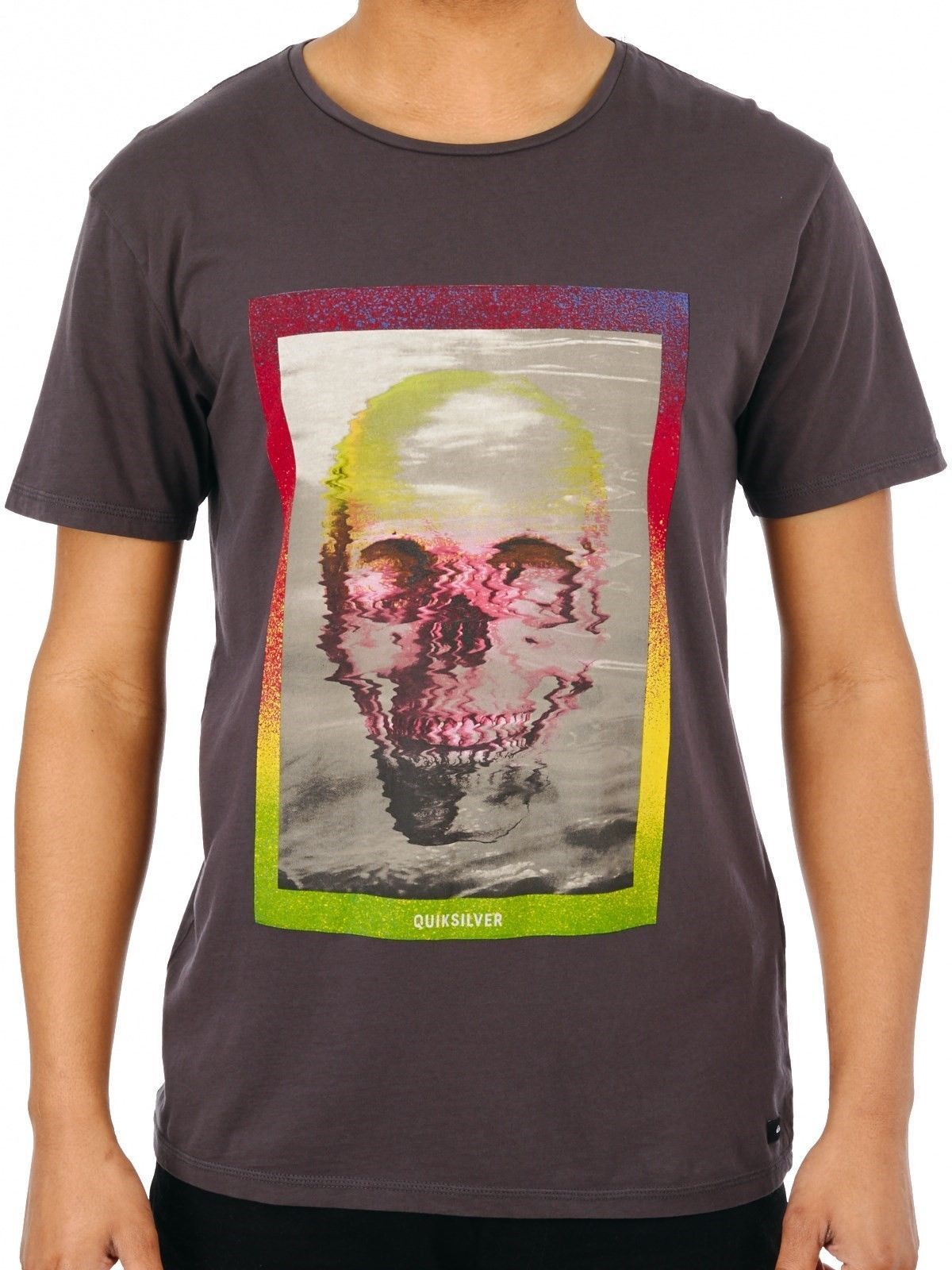 Large Quiksilver Men's Tee Shirt Surfing Beach Casual Skully Acid Tarmac T-Shirt