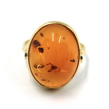 SOLID 18K YELLOW GOLD RING, BIG CABOCHON CENTRAL NATURAL OVAL AMBER 20X16mm image 2