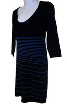 Max Studio knit dress sz M black & cobalt blue striped NEW $128 - $30.00
