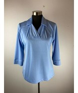 Sport Haley Womens Top M Medium Blue Short Sleeve Collared Polo - $98.99