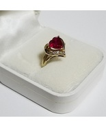 10k Yellow Gold Lab Created Ruby Ring ~ July Birthstone ~ Size 6 - $249.00