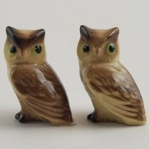 "Owl Pair Painted Ceramic Miniature Figurine 1 1/4"" X 1"" Each Vintage Figure - $12.99"