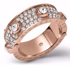 Michael Kors MKJ3275 Rose Gold Tone Astor Stud Crystal Pave Ring Size 7 BNWT - $84.75