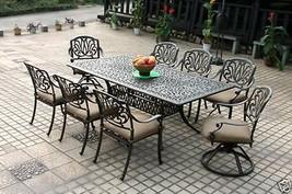 "Elisabeth cast aluminum 9 piece dining set with 84"" rectangle table. image 1"
