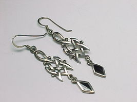CELTIC KNOT Sterling Silver Vintage EARRINGS with BLACK ONYX - 2.25 inch... - $48.00