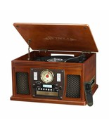 Mahogany Entertainment Center AM/FM Radio CD Player Turntable Bluetooth ... - $168.20