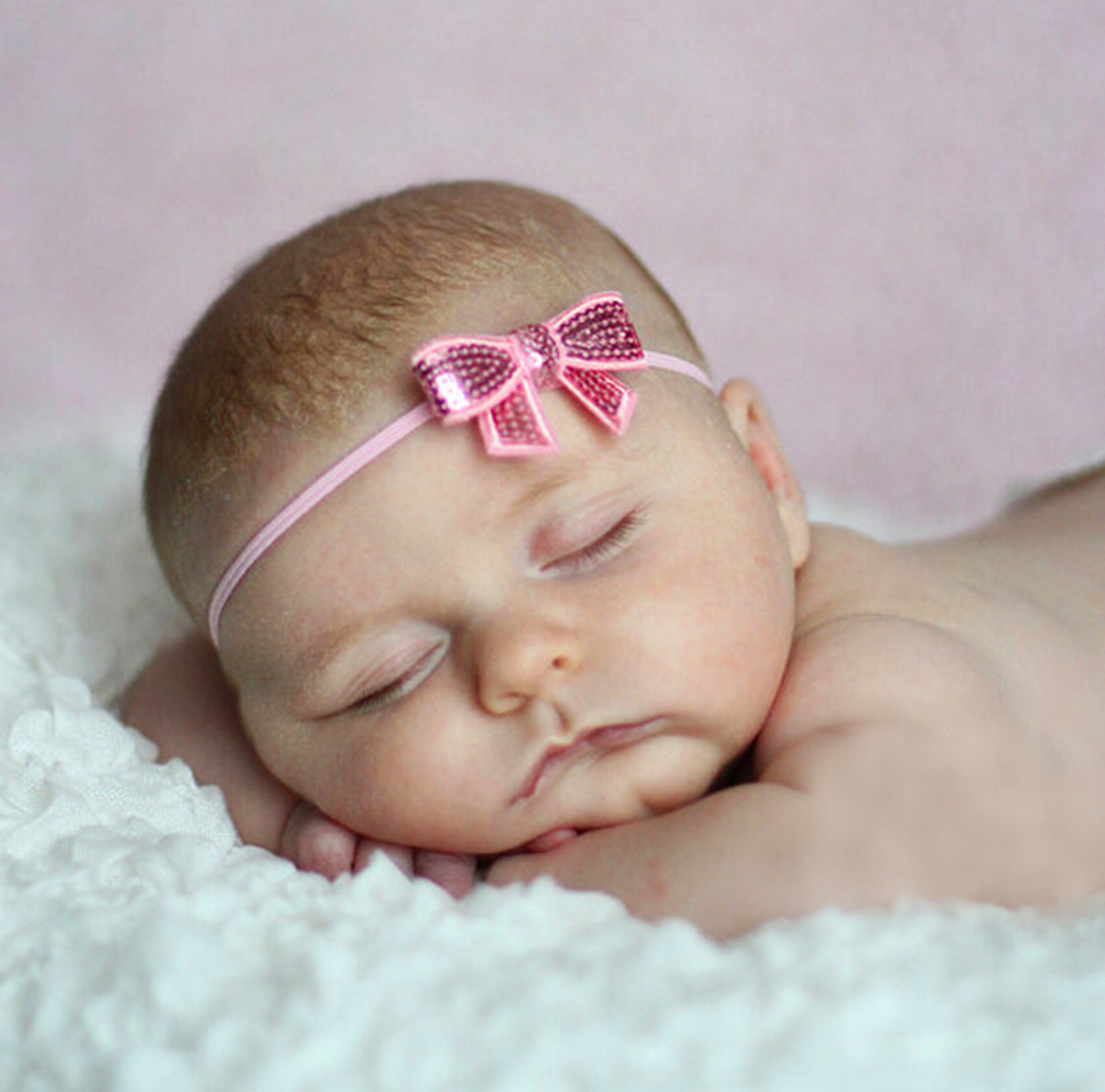 Adorable Pink Sequins Bow Baby Girls Headband. Sparkly Christmas Hair Acessory  - $5.90