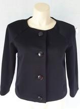 Talbots womens 12 L black wool blend stretch button blazer jacket work LN - $23.78