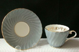 Vintage GRAY SWIRL Aynsley TEA CUP & SAUCER Gold Grape #1531 China England - $24.24