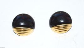 vintage round plastic earrings pierced black gold - $1.97