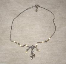 vintage beaded necklace metal - $3.95