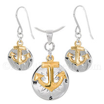 Atlantic Accents Sterling Silver Compass Rose W/Gold Anchor Necklace and... - $99.95