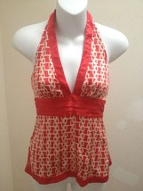 Bebe XS Halter Top Red White Silk Stretch Geometric Print Sexy Club - $21.52