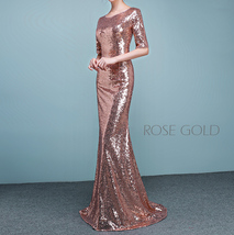 Half Sleeve Fit Gold Maxi Sequin Dress Wedding Party Maxi Gold Sequin Dress Gown image 8