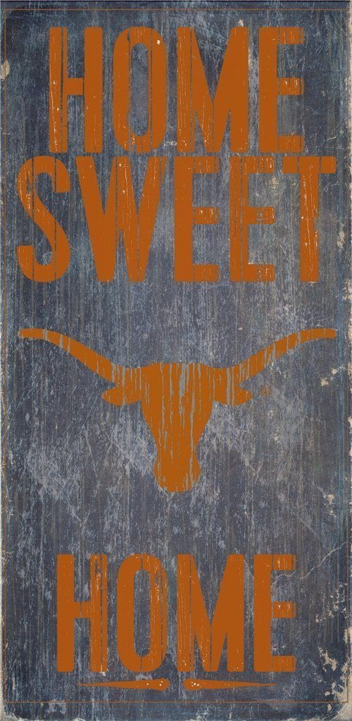 "TEXAS LONGHORNS HOME SWEET HOME WOOD SIGN and ROPE 12"" X 6""  NCAA MAN CAVE!"