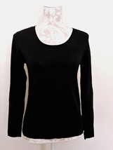 Chico's XS Black Rayon Top Sz 0 Heavyweight Warm Long Sleeves Solid Career - $29.65