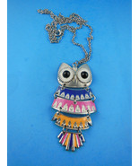 """Vintage Large Big Eyes Owl Pendant Necklace with 28"""" Chain - $14.54"""
