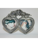 Vintage Russ Mini Picture Frame Pewter Double Hearts Roses - $24.18